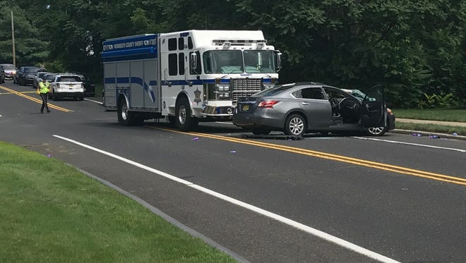 One person was hospitalized following a serious Wall crash involving a Monmouth County Sheriff's Office vehicle on Belmar Boulevard, police said.