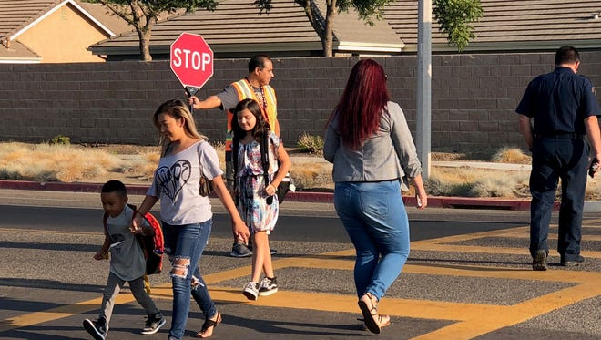 In this pre-pandemic file photo, students return to school at Manuel F. Hernandez.