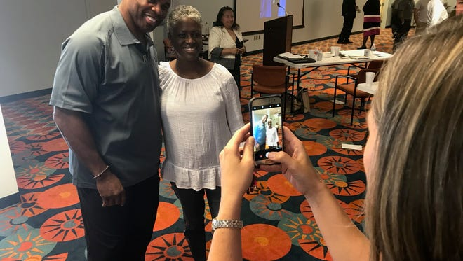 Former NFL player Hershel Walker posed for photos at the West Texas Veterans Affairs Health Care System's 6th annual Mental Health Summit Thursday, Aug. 23, 2018.