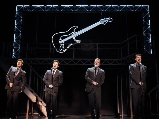 "The national tour of ""Jersey Boys"" stars, from left,"