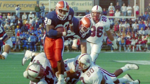Howard Griffith of Illinois scored eight touchdowns against Southern Illinois on Sept. 22, 1990.