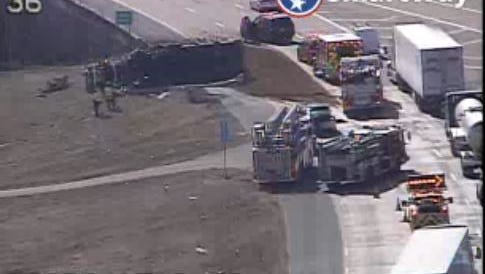 A man was killed after his dump truck overturned on I-40  westbound near Watkins Avenue on Feb. 2.