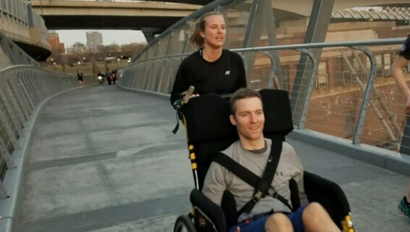 Woman to push paralyzed boyfriend on Boston Marathon course