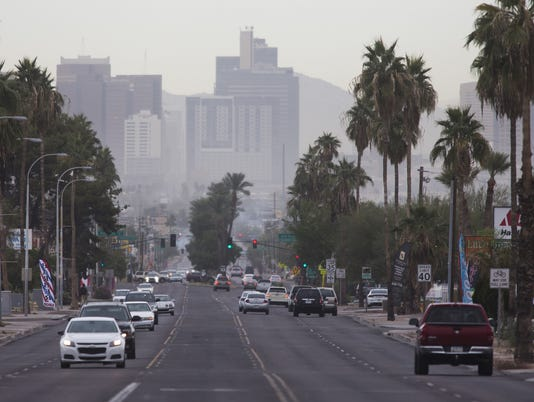 Downtown Phoenix haze