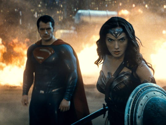 Henry Cavill, Gal Gadot and Ben Affleck appear in a