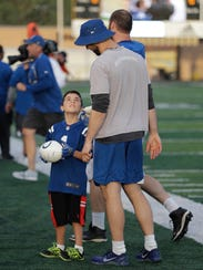 Michael Dieter talks with Indianapolis Colts quarterback