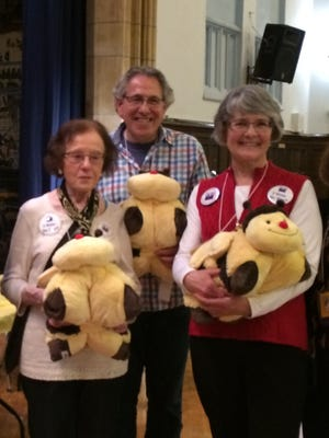 From left: Barbara Cooper, Stephen Cohen and Jennifer Watts, of the White Plains League of Women Voters, are champions of the second annual Adult & Teen Spelling Bee Fundraiser, benefiting the White Plains Library