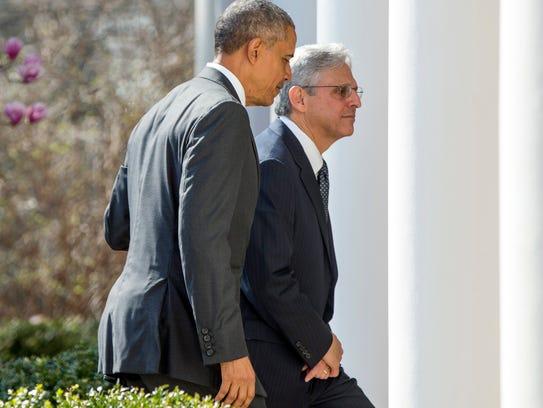 Judge Merrick Garland departs with President Obama