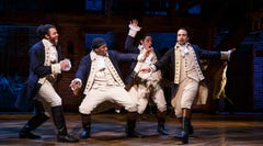 HAMILTON   (l-r) Daveed Diggs, Okieriete Onaodowan, Anthony Ramos, and Lin-Manuel Miranda in a scene from the Broadway musical HAMILTON at the Richard Rodgers Theatre.  HANDOUT Photo by Joan Marcus