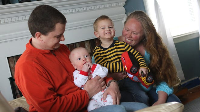 Jennifer and Adam Storey, of Elkton, Md., with their sons 5-month-old Jackson who contracted MRSA and 2 year-old Brandon who did not. Jennifer had a small spot on her arm but was able to heal with a course of antibiotics.