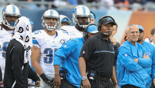Detroit Lions head coach Jim Caldwell on the sidelines during the final minute of play against the Chicago Bears Sunday, October 2, 2016 at Soldier Field in Chicago.