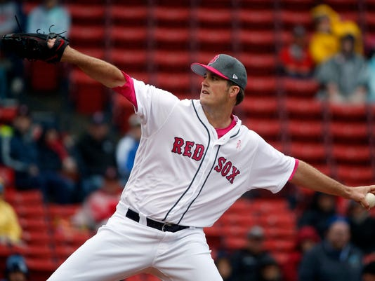 Boston Red Sox's Drew Pomeranz pitches during the first inning of a baseball game against the Tampa Bay Rays, Sunday, May 14, 2017, in Boston. (AP Photo/Michael Dwyer)