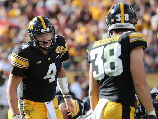 Nate Stanley made sure there was no ambiguity with tight end T.J. Hockenson on this Outback Bowl play Jan. 1. Now Iowa's senior quarterback is making sure he's on the same page with a new crop of receivers heading into his senior season.
