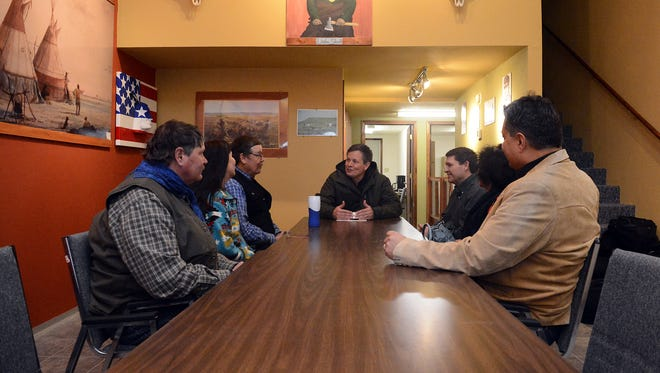 Rep. Steve Daines visits with the Little Shell Chippewa Tribe's tribal council in January 2013. Daines has been working toward legislation to provide Montana's Little Shell Chippewa Tribe with federal recognition.