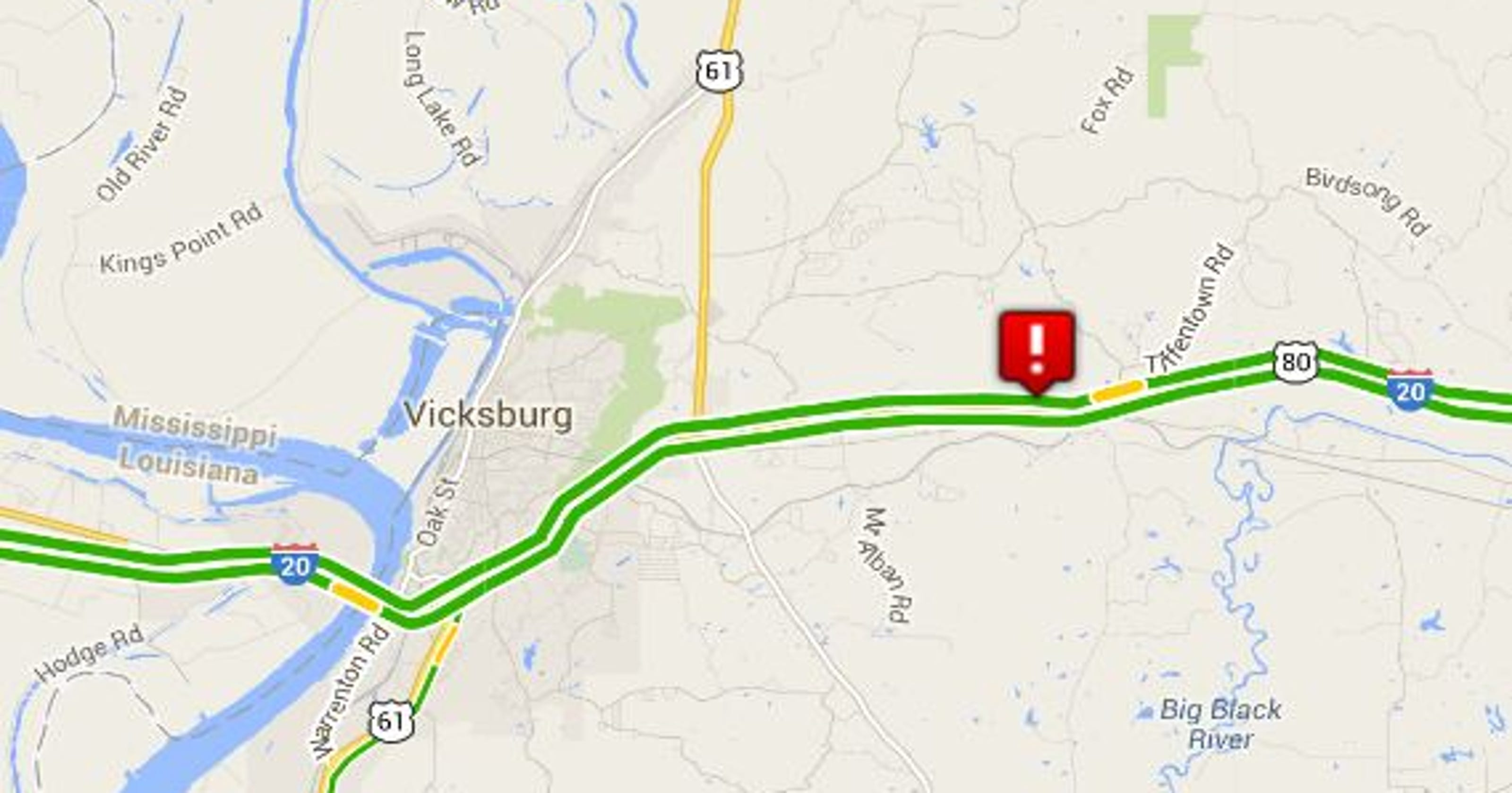 Accidents cause backup on I-20 West near Vicksburg
