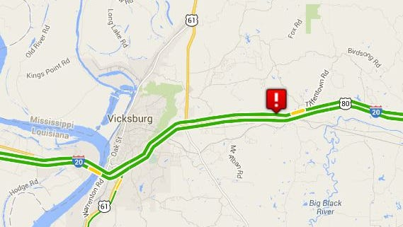 Traffic on I-20 westbound was blocked by accidents near Vicksburg, Miss.