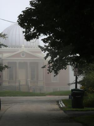 The Cincinnati Observatory Center hides behind fog.