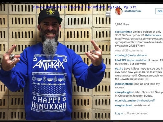 Heavy metal band Anthrax sued for copyright infringement over Ugly Hanukkah Sweater design.