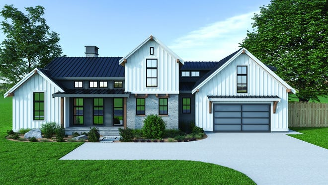 This design gives you country charm with board-and-batten siding and a cute front porch.