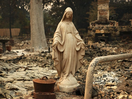 Fire damage is seen in Glen Ellen, Calif. on Oct. 11,
