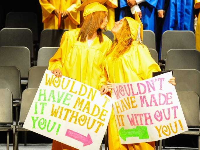 Pocomoke High students celebrate during on the final stage of their high school careers on Tuesday evening during graduation ceremonies held at Pocomoke High School.