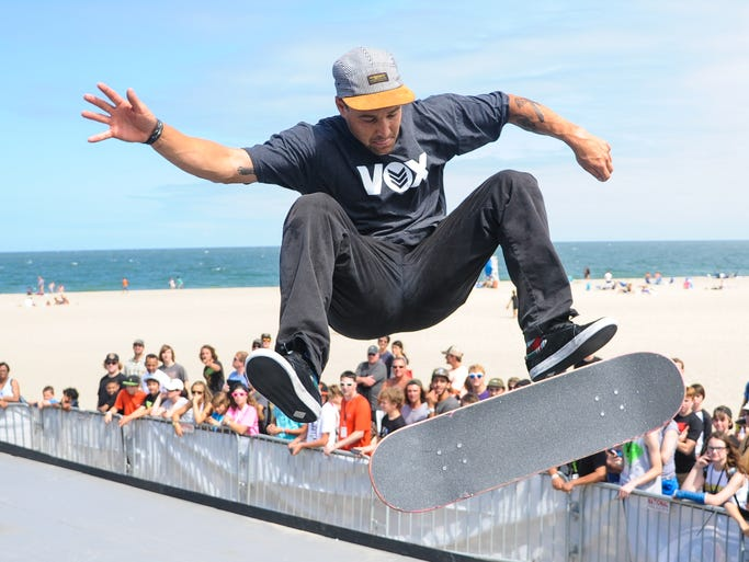 Jordan Hoffart busts out his best tricks over 30 minutes during the Skateboard Street Finals at Dew Tour in Ocean City on Friday afternoon.