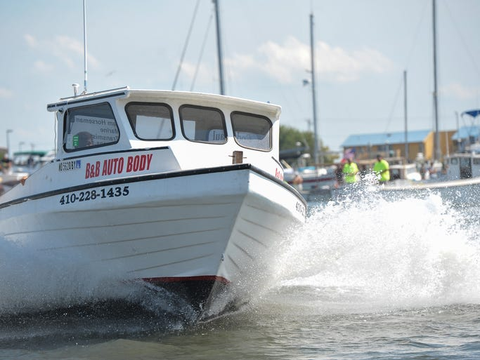 Captains competed against each other in a fast pace race during the annual Boat Docking Contest held in Somers Cove Marina in Crisfield.