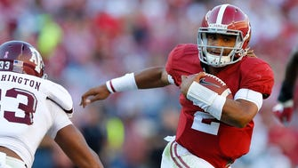 Jalen Hurts and Alabama are running away from the field in contention for a berth in the College Football Playoff.
