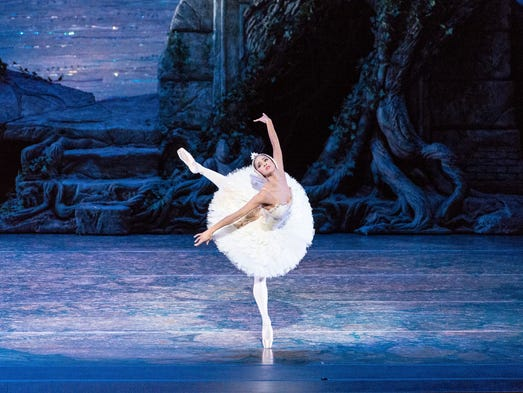 "Misty Copeland performs in ""Swan Lake"" on Sept. 3 at"
