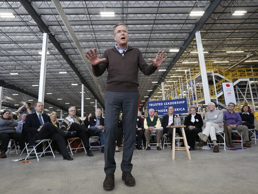 Republican presidential candidate Jeb Bush speaks at
