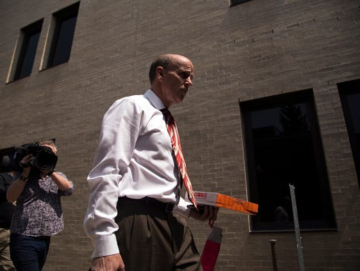 Cal Harris enters Schoharie County Court before Judge