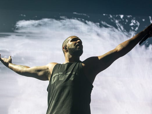 Drake performs at the Joe Louis Arena Tuesday night