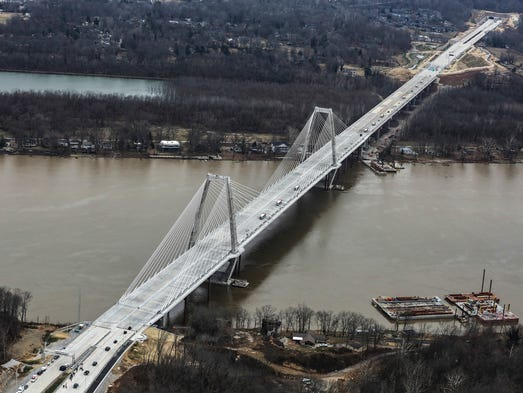 The new Lewis and Clark Bridge opened on Sunday.December