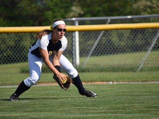 Greencastle's Jenna Carty scoops up a ground ball in