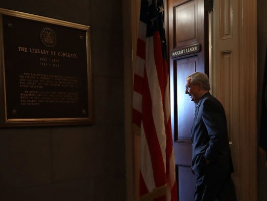 McConnell arrives in his office in the U.S. Capitol