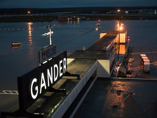 The Gander International Airport is quiet on a rainy