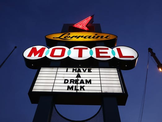 The sign is seen outside the Lorraine Motel, where