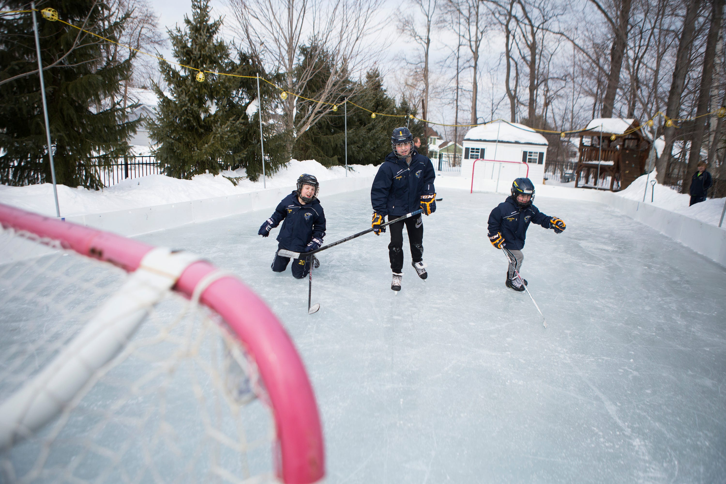 Anthony, Cameron, And Landon Smith Play Hockey On An