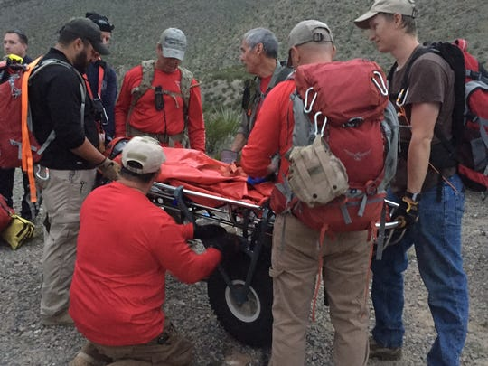 Members of Mesilla Valley Search and Rescue tend to an injured woman on a search in southern New Mexico in mid-October. On another recent search, the MVSAR team used an unmanned aerial vehicle, or drone, to find a missing person.