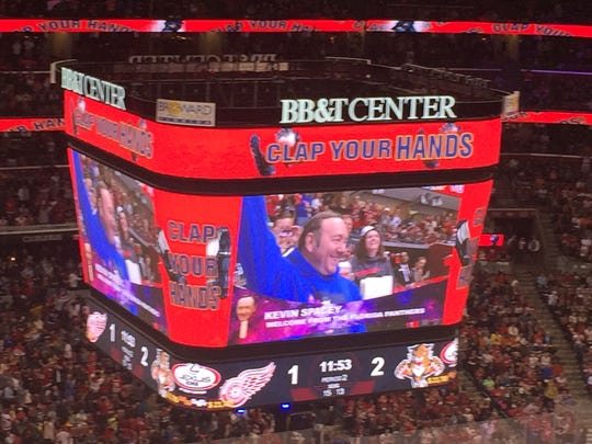 Kevin Spacey is shown on the jumbotron Saturday in Sunrise, Fla.