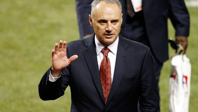 MLB Commissioner Rob Manfred visited Citizens Bank Park on Thursday for the final stop of an annual tour visiting all 30 teams.