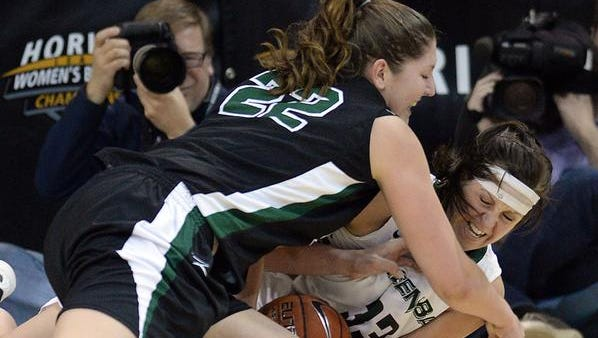 UW-Green Bay's Lexi Weitzer fights for the ball during Sunday's Horizon League championship game against Wright State at the Kress Events Center.