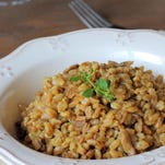 Farro, an ancient grain, adds a pleasant chewiness to this earthy dish.