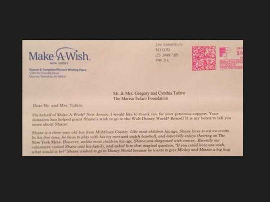 Letter from Make-A-Wish New Jersey to The Marisa Tufaro Foundation