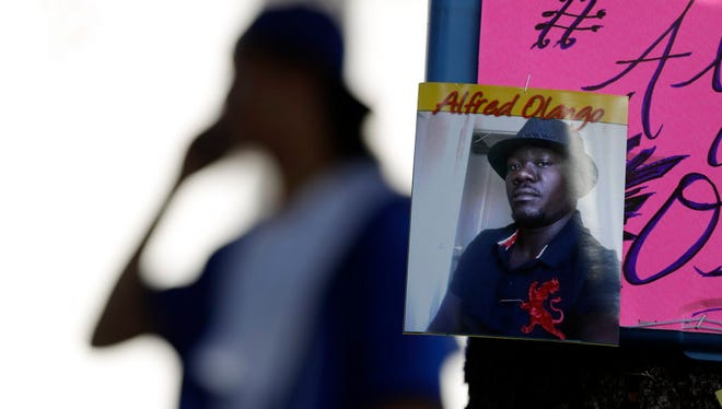 A picture of Alfred Olango during a protest in El Cajon, Calif., in September 2016.