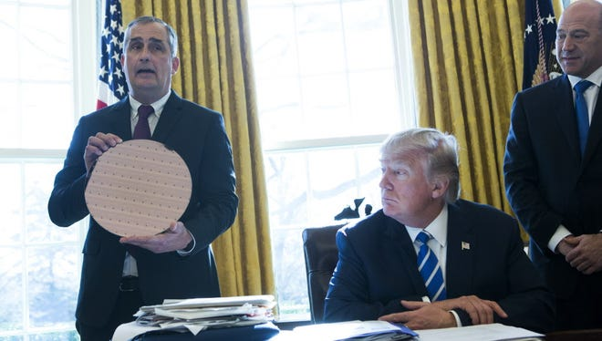 Intel CEO Brian Krzanich speaks during a meeting with President Donald Trump at the White House February 8, 2017 in Washington, DC. Krzanich announced an investment of $7 billion to finishing building a factory in Chandler, Arizona to create advanced semi-conductor chips.
