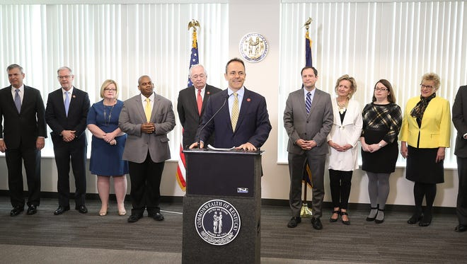 Governor Matt Bevin makes remarks praising Hal Heiner's service speaking of his appointment to the Kentucky Board of Education.