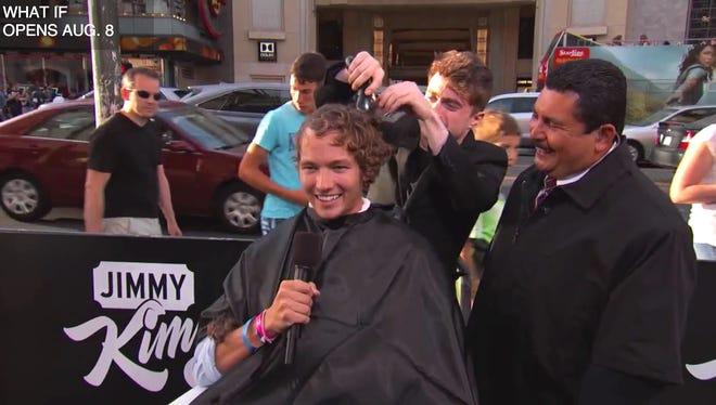 "Daniel Radcliffe cuts stranger's hair on ""Jimmy Kimmel Live."""