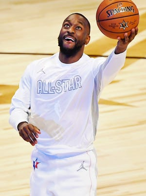 Team Giannis guard Kemba Walker of the Boston Celtics warms up before the 2020 NBA All Star Game at United Center on Feb. 16, 2020.