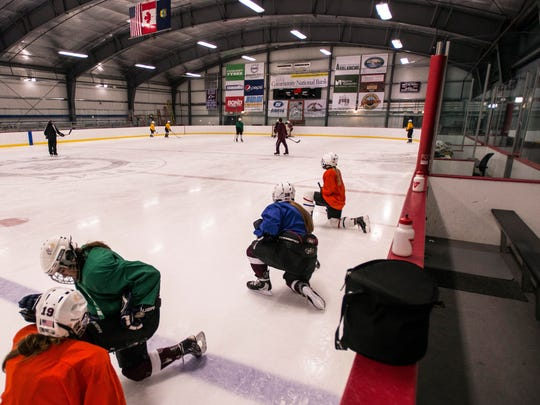 The North Country Union High School girl's hockey team practices at the Ice Haus at Jay Peak Resort Monday night, Feb. 6th, 2017. Home ice to both the girl's and boy's hockey programs, the teams used to travel to Canada for ice time.